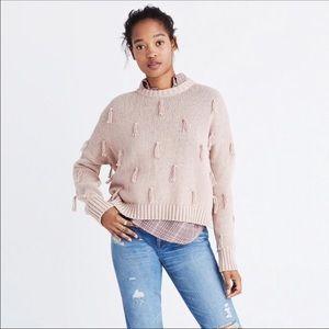 Madewell Blush Pink Nude Pom Pom Tassel Sweater